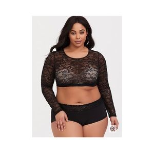 BLACK LACE LONG SLEEVE UNDER-IT-ALL CROP TOP
